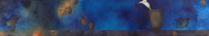 "s64, oil on fabric, 12"" x 68"" (30 x 173 cm), 2004"