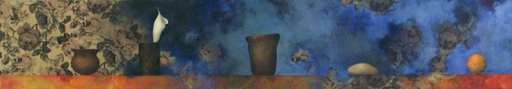 "s66, oil on fabric, 12"" x 68"" (30 x 173 cm), 2004"